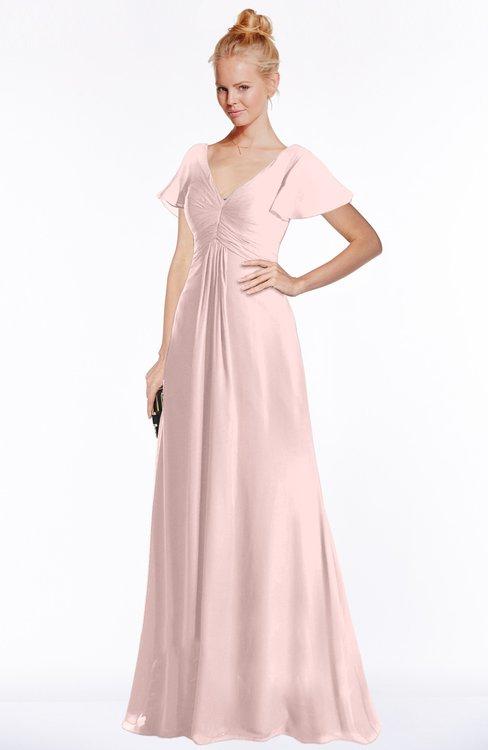 ColsBM Ellen Pastel Pink Modern A-line V-neck Short Sleeve Zip up Floor Length Bridesmaid Dresses