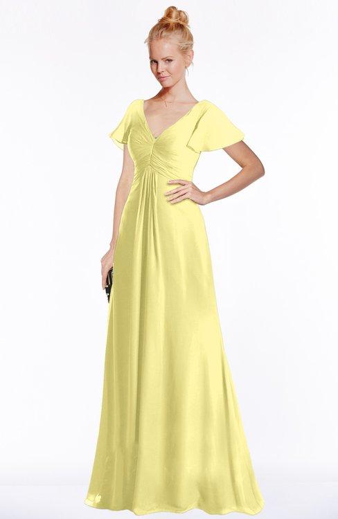 ColsBM Ellen Pastel Yellow Modern A Line V Neck Short Sleeve Zip Up Floor