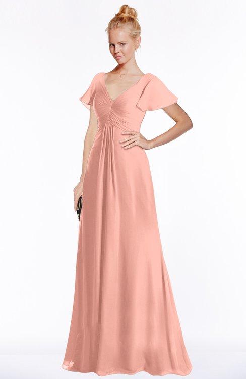 ColsBM Ellen Peach Modern A-line V-neck Short Sleeve Zip up Floor Length Bridesmaid Dresses