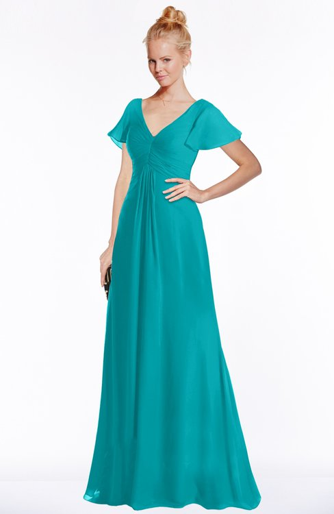 ColsBM Ellen Peacock Blue Modern A-line V-neck Short Sleeve Zip up Floor Length Bridesmaid Dresses
