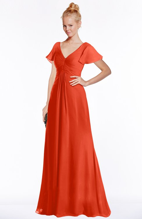 ColsBM Ellen Persimmon Modern A-line V-neck Short Sleeve Zip up Floor Length Bridesmaid Dresses