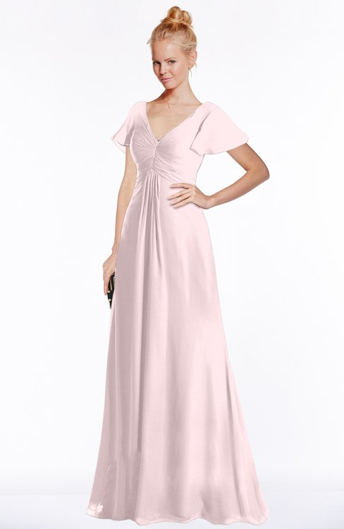 ColsBM Ellen Petal Pink Modern A-line V-neck Short Sleeve Zip up Floor Length Bridesmaid Dresses