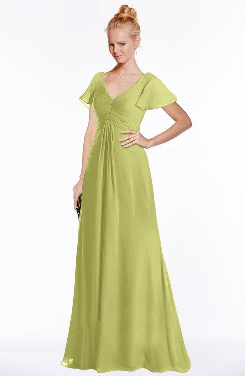 ColsBM Ellen Pistachio Modern A-line V-neck Short Sleeve Zip up Floor Length Bridesmaid Dresses
