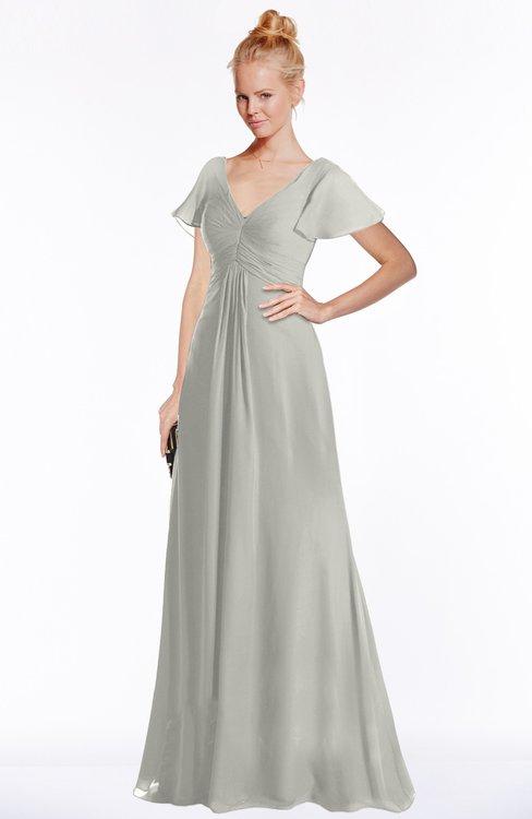 ColsBM Ellen Platinum Modern A-line V-neck Short Sleeve Zip up Floor Length Bridesmaid Dresses