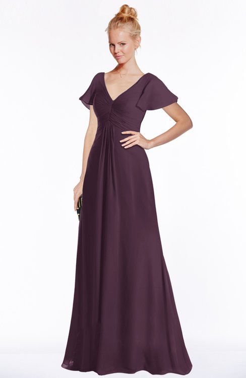 ColsBM Ellen Plum Modern A-line V-neck Short Sleeve Zip up Floor Length Bridesmaid Dresses