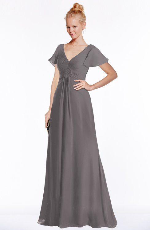 ColsBM Ellen Ridge Grey Modern A-line V-neck Short Sleeve Zip up Floor Length Bridesmaid Dresses