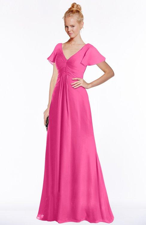 ColsBM Ellen Rose Pink Modern A-line V-neck Short Sleeve Zip up Floor Length Bridesmaid Dresses