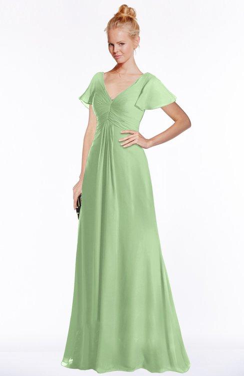 ColsBM Ellen Sage Green Modern A-line V-neck Short Sleeve Zip up Floor Length Bridesmaid Dresses