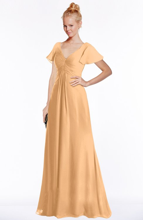 ColsBM Ellen Salmon Buff Modern A-line V-neck Short Sleeve Zip up Floor Length Bridesmaid Dresses