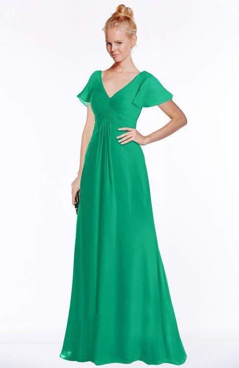 ColsBM Ellen Sea Green Modern A-line V-neck Short Sleeve Zip up Floor Length Bridesmaid Dresses