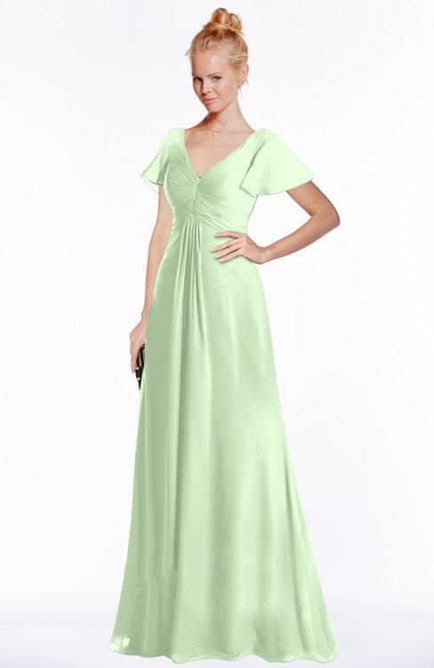 ColsBM Ellen Seacrest Modern A-line V-neck Short Sleeve Zip up Floor Length Bridesmaid Dresses