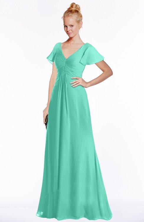 ColsBM Ellen Seafoam Green Modern A-line V-neck Short Sleeve Zip up Floor Length Bridesmaid Dresses