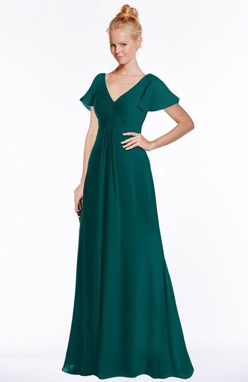 ColsBM Ellen Shaded Spruce Modern A-line V-neck Short Sleeve Zip up Floor Length Bridesmaid Dresses