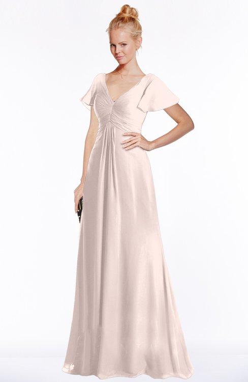 ColsBM Ellen Silver Peony Modern A-line V-neck Short Sleeve Zip up Floor Length Bridesmaid Dresses