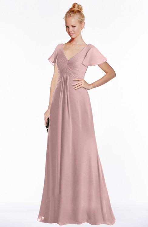 ColsBM Ellen Silver Pink Modern A-line V-neck Short Sleeve Zip up Floor Length Bridesmaid Dresses