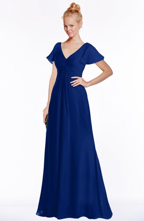 ColsBM Ellen Sodalite Blue Modern A-line V-neck Short Sleeve Zip up Floor Length Bridesmaid Dresses