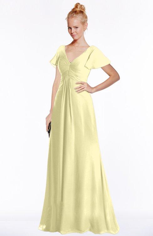 ColsBM Ellen Soft Yellow Modern A-line V-neck Short Sleeve Zip up Floor Length Bridesmaid Dresses