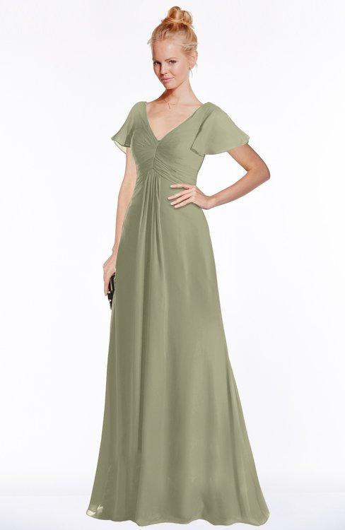 ColsBM Ellen Sponge Modern A-line V-neck Short Sleeve Zip up Floor Length Bridesmaid Dresses