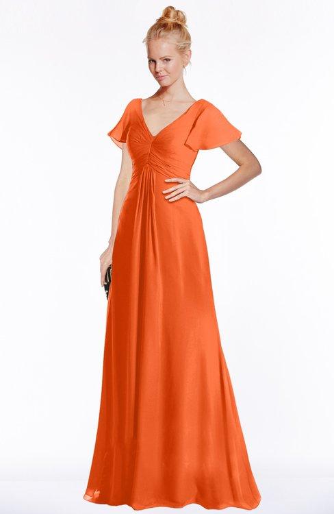 ColsBM Ellen Tangerine Modern A-line V-neck Short Sleeve Zip up Floor Length Bridesmaid Dresses