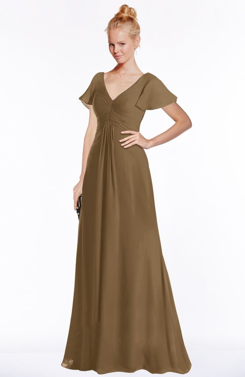 ColsBM Ellen Truffle Modern A-line V-neck Short Sleeve Zip up Floor Length Bridesmaid Dresses