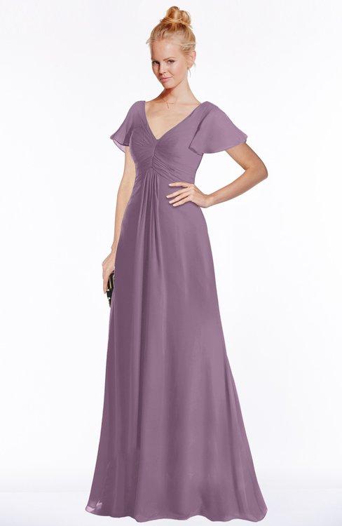 ColsBM Ellen Valerian Modern A-line V-neck Short Sleeve Zip up Floor Length Bridesmaid Dresses