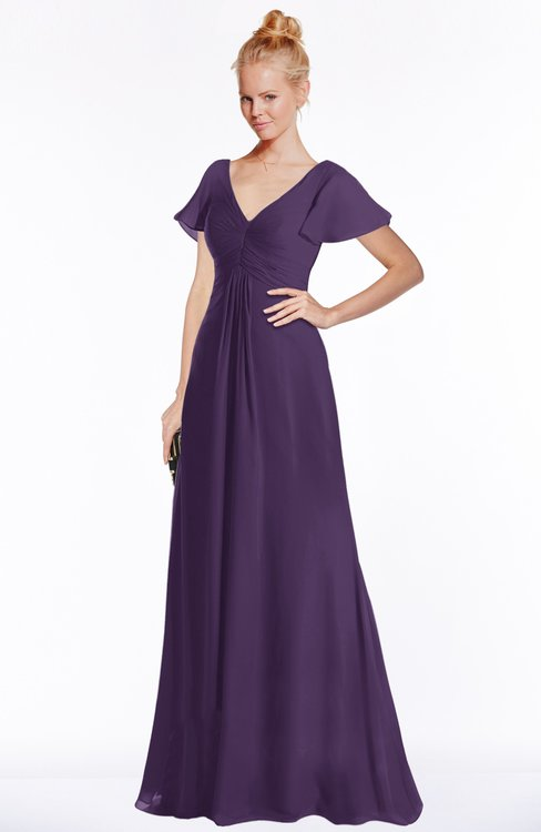 ColsBM Ellen Violet Modern A-line V-neck Short Sleeve Zip up Floor Length Bridesmaid Dresses