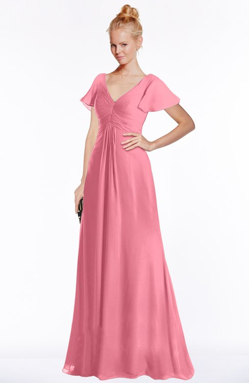 ColsBM Ellen Watermelon Modern A-line V-neck Short Sleeve Zip up Floor Length Bridesmaid Dresses