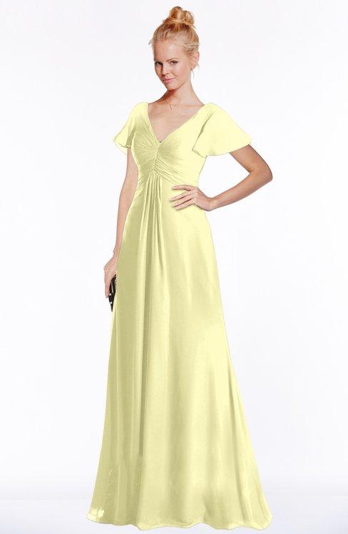 ColsBM Ellen Wax Yellow Modern A-line V-neck Short Sleeve Zip up Floor Length Bridesmaid Dresses