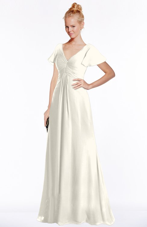 ColsBM Ellen Whisper White Modern A-line V-neck Short Sleeve Zip up Floor Length Bridesmaid Dresses