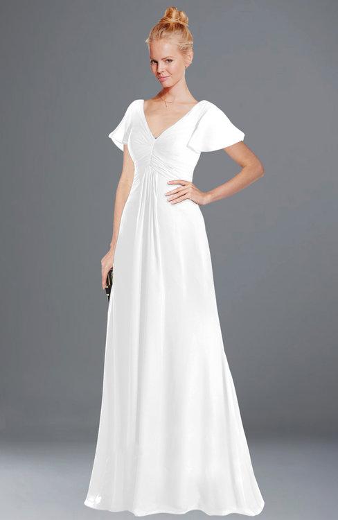 ColsBM Ellen White Modern A-line V-neck Short Sleeve Zip up Floor Length Bridesmaid Dresses