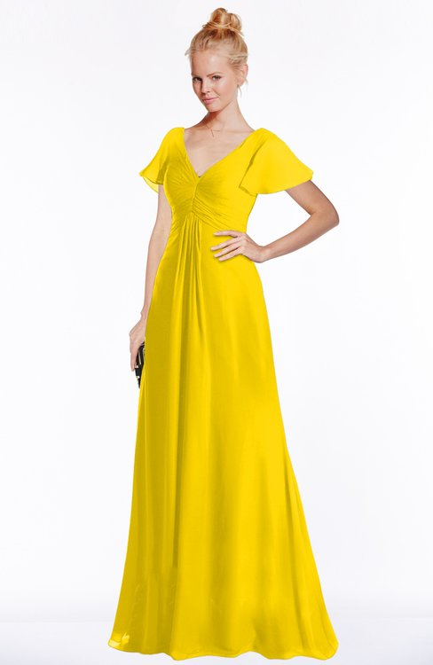 ColsBM Ellen Yellow Modern A-line V-neck Short Sleeve Zip up Floor Length Bridesmaid Dresses