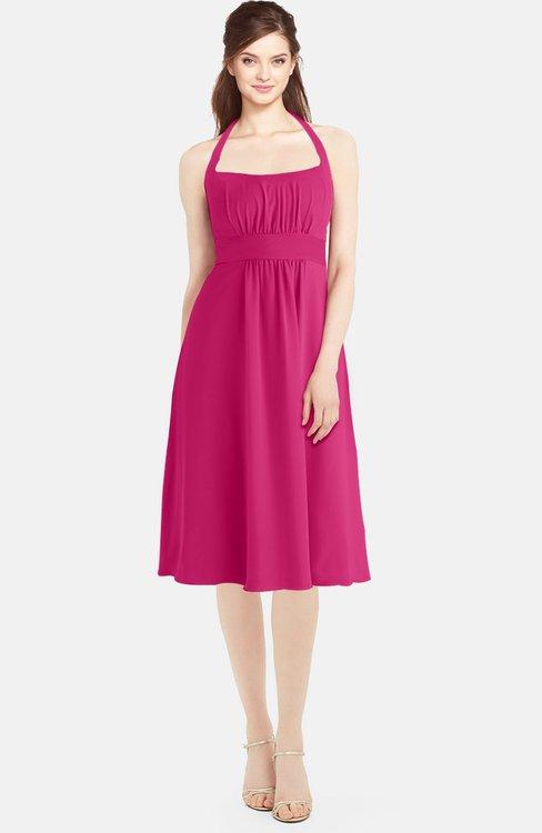 ColsBM Amya Beetroot Purple Glamorous Sleeveless Zip up Chiffon Knee Length Bridesmaid Dresses
