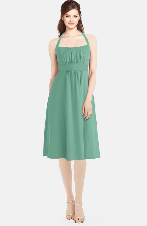 ColsBM Amya Beryl Green Glamorous Sleeveless Zip up Chiffon Knee Length Bridesmaid Dresses