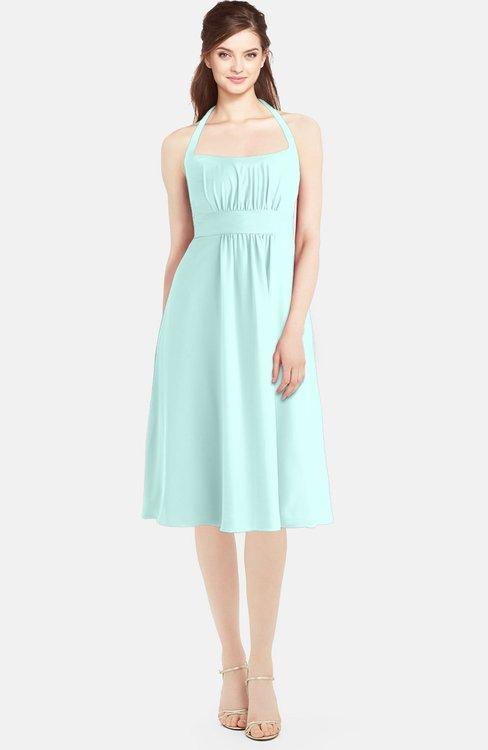ColsBM Amya Blue Glass Glamorous Sleeveless Zip up Chiffon Knee Length Bridesmaid Dresses