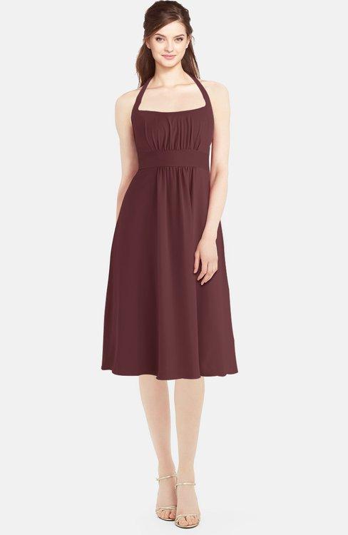 ColsBM Amya Burgundy Glamorous Sleeveless Zip up Chiffon Knee Length Bridesmaid Dresses