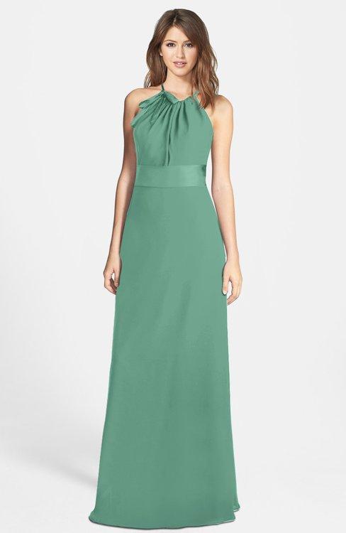 ColsBM Leah Beryl Green Luxury A-line Sleeveless Zip up Chiffon Floor Length Bridesmaid Dresses