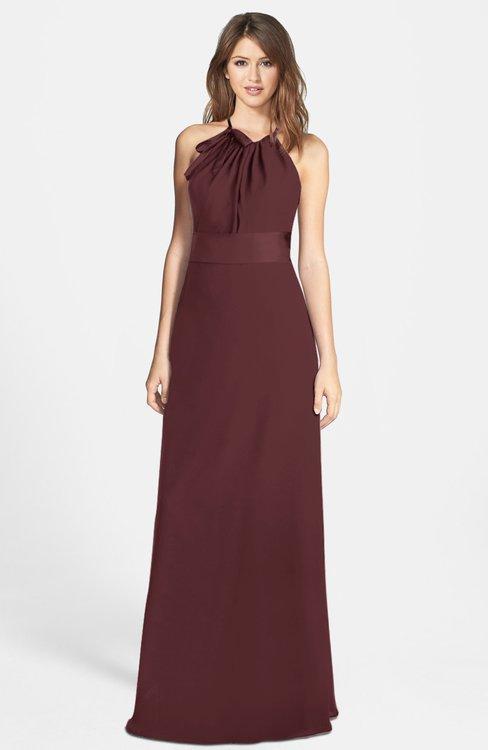 ColsBM Leah Burgundy Luxury A-line Sleeveless Zip up Chiffon Floor Length Bridesmaid Dresses