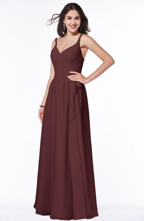 ColsBM Sariah Burgundy Elegant Fit-n-Flare Zip up Chiffon Floor Length Bridesmaid Dresses