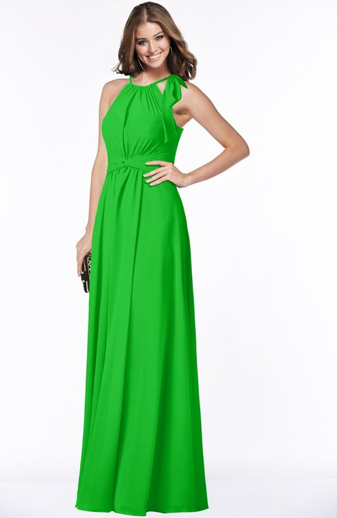 ColsBM Alison Jasmine Green Glamorous A-line Zip up Chiffon Floor Length Pleated Bridesmaid Dresses
