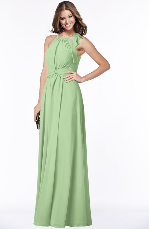Colsbm Alison Sage Green Glamorous A Line Zip Up Chiffon Floor Length Pleated Bridesmaid Dresses