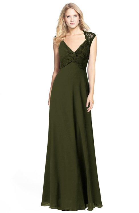 ColsBM Kara Beech Modest Fit-n-Flare V-neck Sleeveless Chiffon Floor Length Bridesmaid Dresses