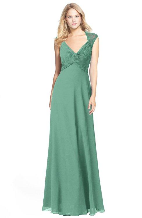 ColsBM Kara Beryl Green Modest Fit-n-Flare V-neck Sleeveless Chiffon Floor Length Bridesmaid Dresses