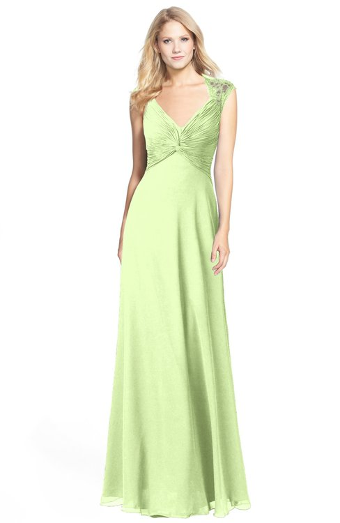 ColsBM Kara Butterfly Modest Fit-n-Flare V-neck Sleeveless Chiffon Floor Length Bridesmaid Dresses