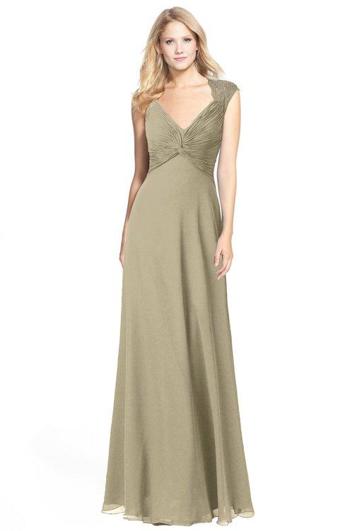 ColsBM Kara Candied Ginger Modest Fit-n-Flare V-neck Sleeveless Chiffon Floor Length Bridesmaid Dresses