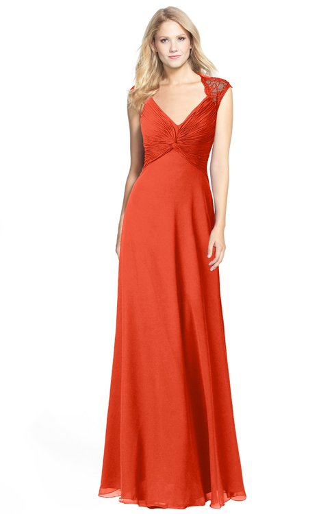 ColsBM Kara Tangerine Tango Modest Fit-n-Flare V-neck Sleeveless Chiffon Floor Length Bridesmaid Dresses