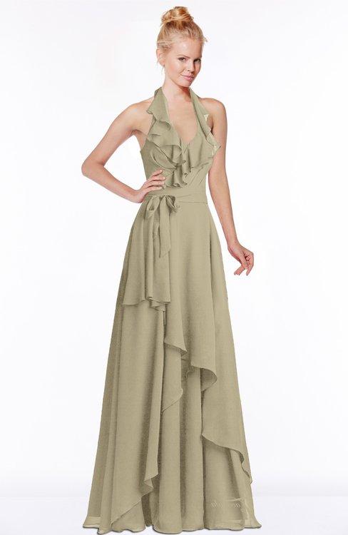 ColsBM Jade Candied Ginger Glamorous Fit-n-Flare Halter Sleeveless Floor Length Bridesmaid Dresses