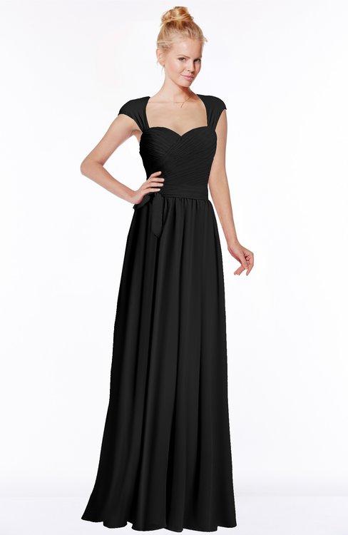 ColsBM Anna Black Modest Sleeveless Half Backless Chiffon Floor Length Bridesmaid Dresses