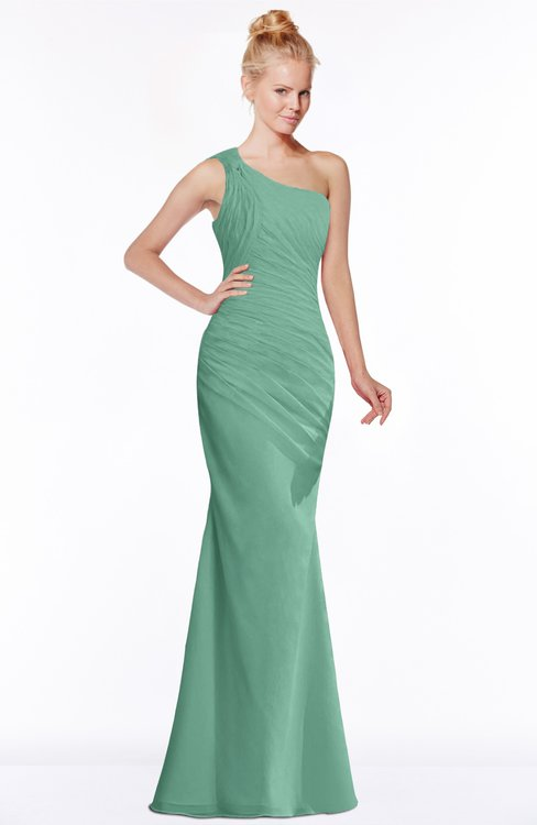 ColsBM Michelle Beryl Green Simple A-line Sleeveless Chiffon Floor Length Bridesmaid Dresses