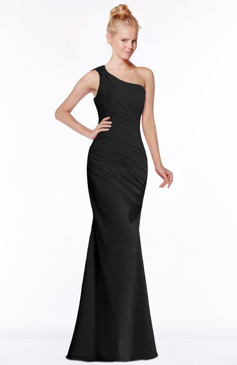ColsBM Michelle Black Simple A-line Sleeveless Chiffon Floor Length Bridesmaid Dresses