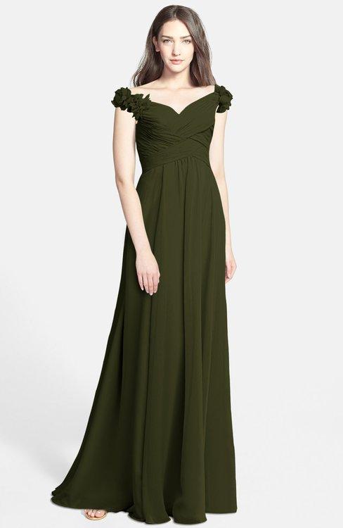 ColsBM Carolina Beech Gorgeous Fit-n-Flare Off-the-Shoulder Sleeveless Zip up Chiffon Bridesmaid Dresses